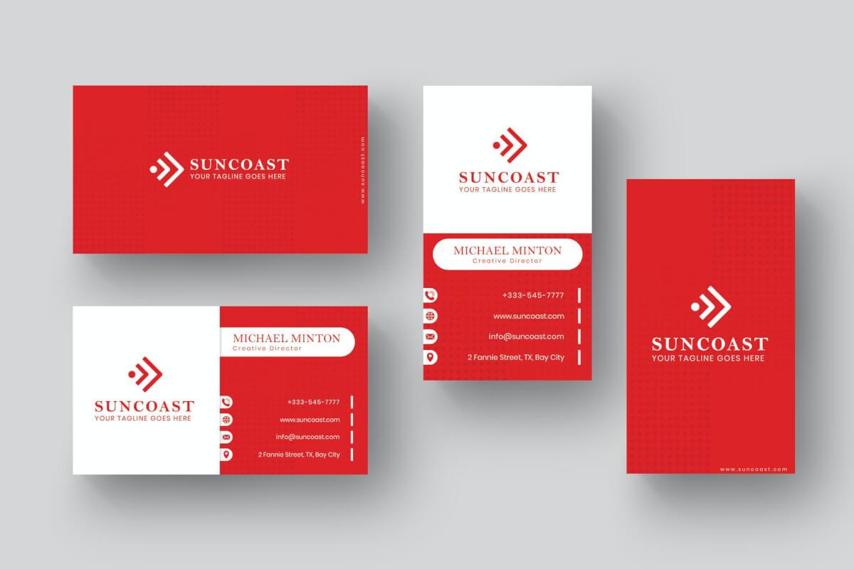 红卡名称水平和垂直商务名片模板