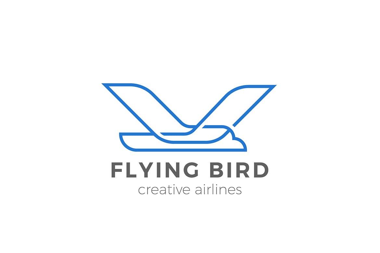徽标飞鸟鹰的几何风格logo