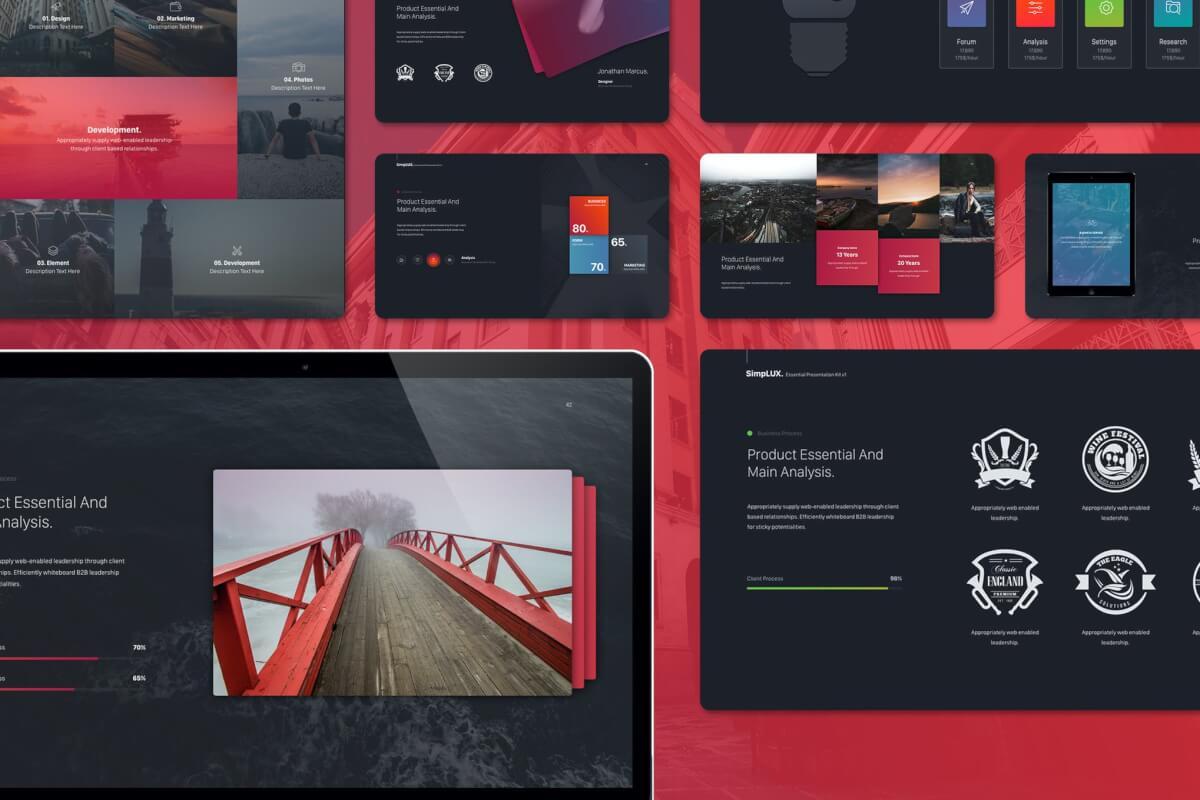 Simplux多功能创意模板黑色Keynote模板下载