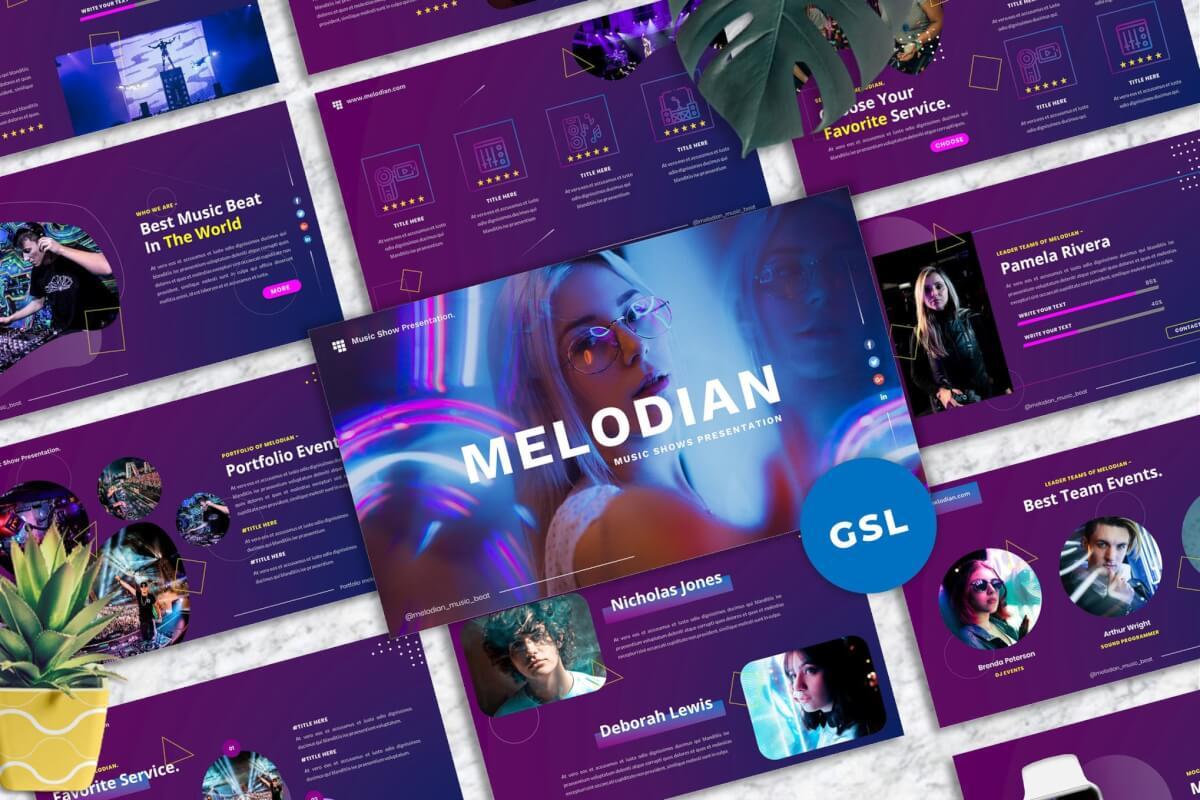 Melodian-音乐产业Googleslide模板
