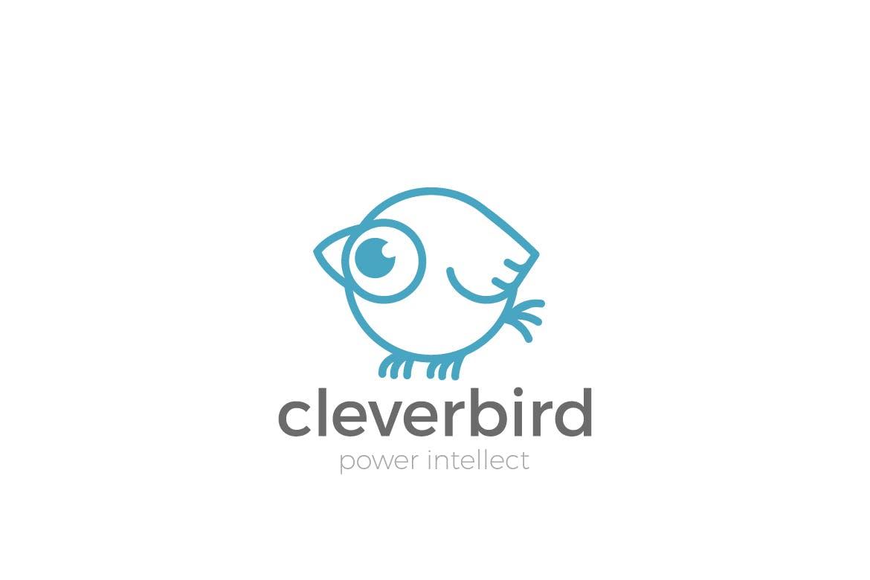 徽标麻雀鸟抽象搞笑线性风格logo设计