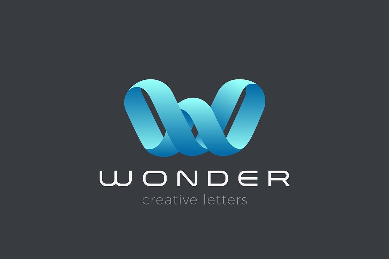 徽标W字母丝带设计风格logo