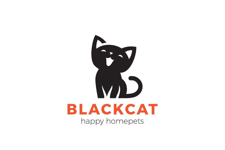 徽标黑猫小猫家庭宠物logo