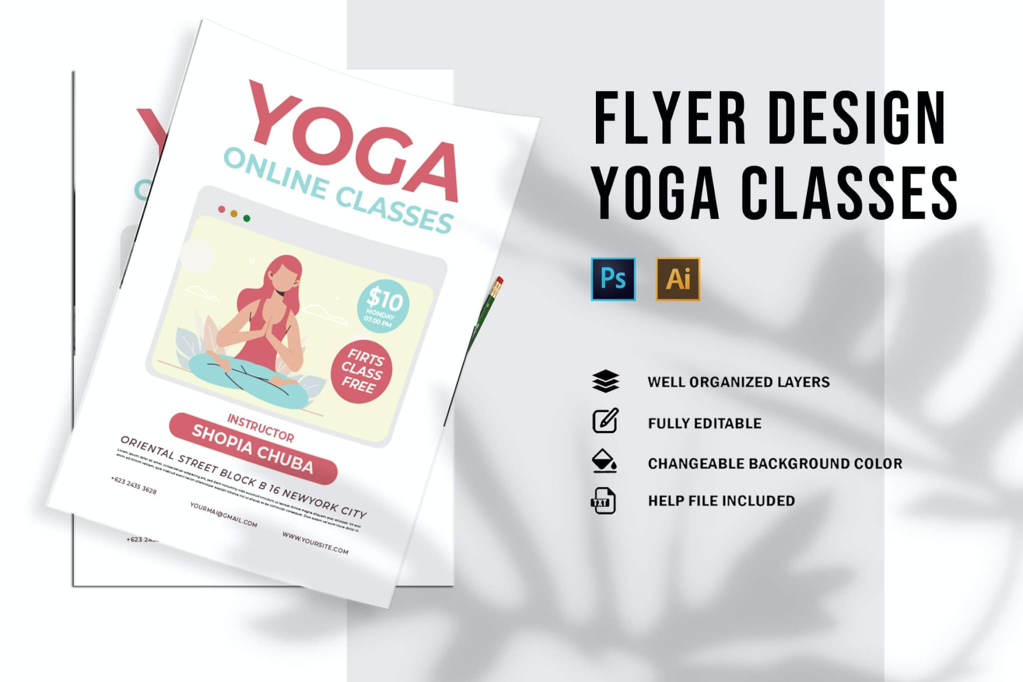 瑜伽在线课程海报传单设计
