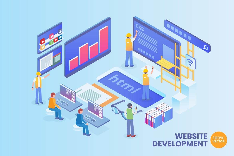 等距2.5D插画Web开发矢量概念
