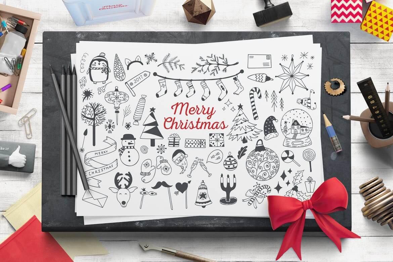 舒适的圣诞节矢量插图集