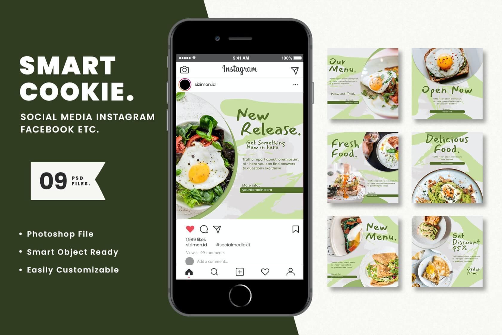 智能Cookie社交媒体工具包广告设计