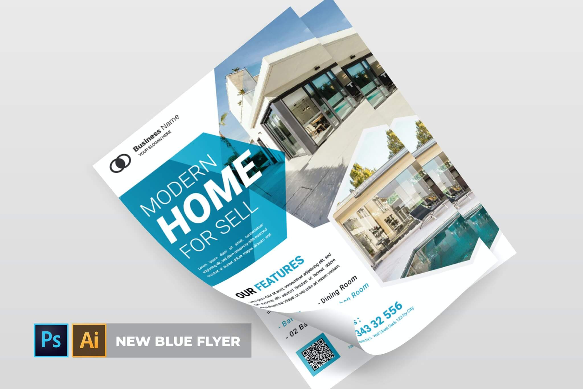 蓝色业务海报传单设计模板