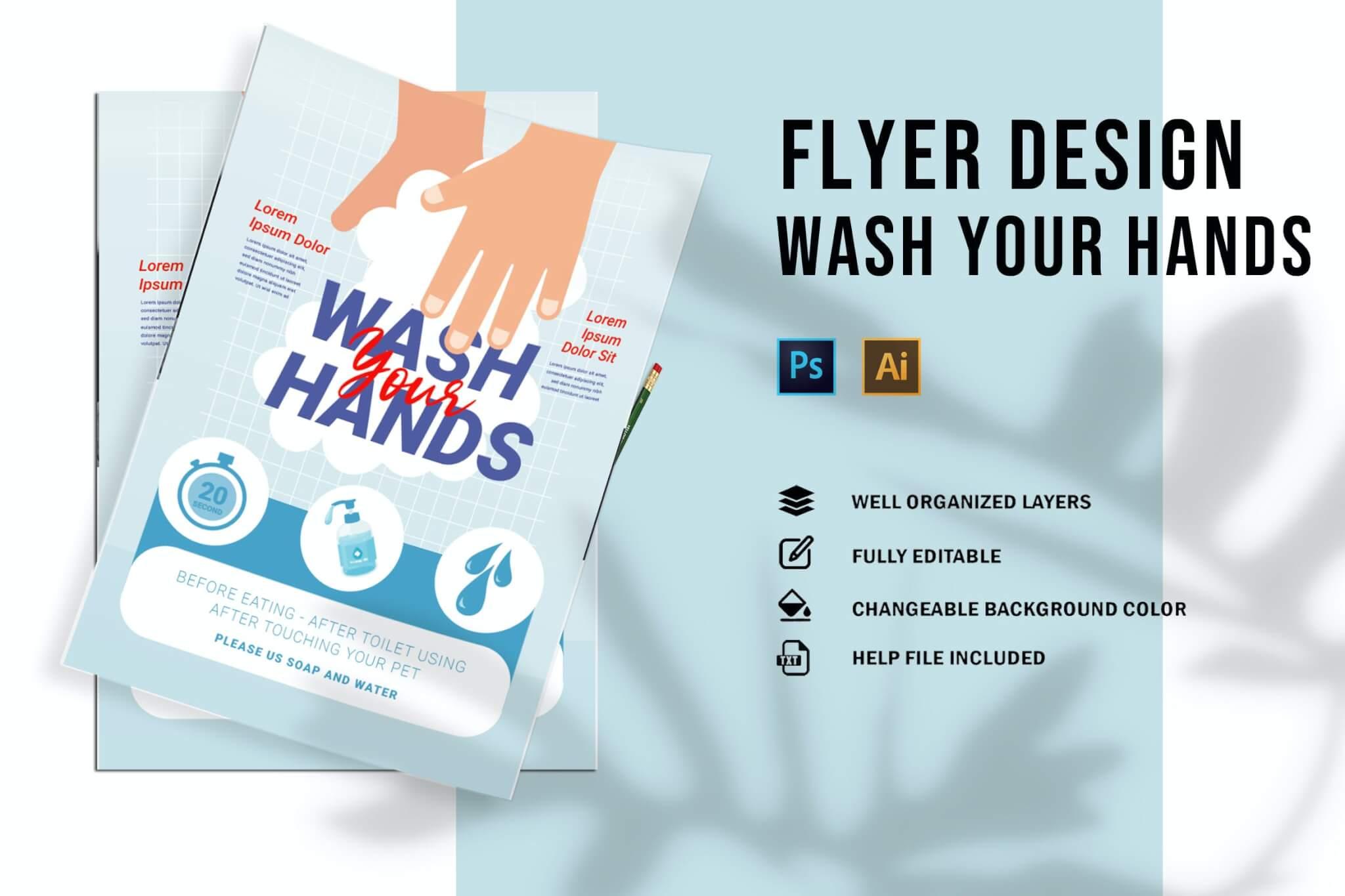 洗手海报传单