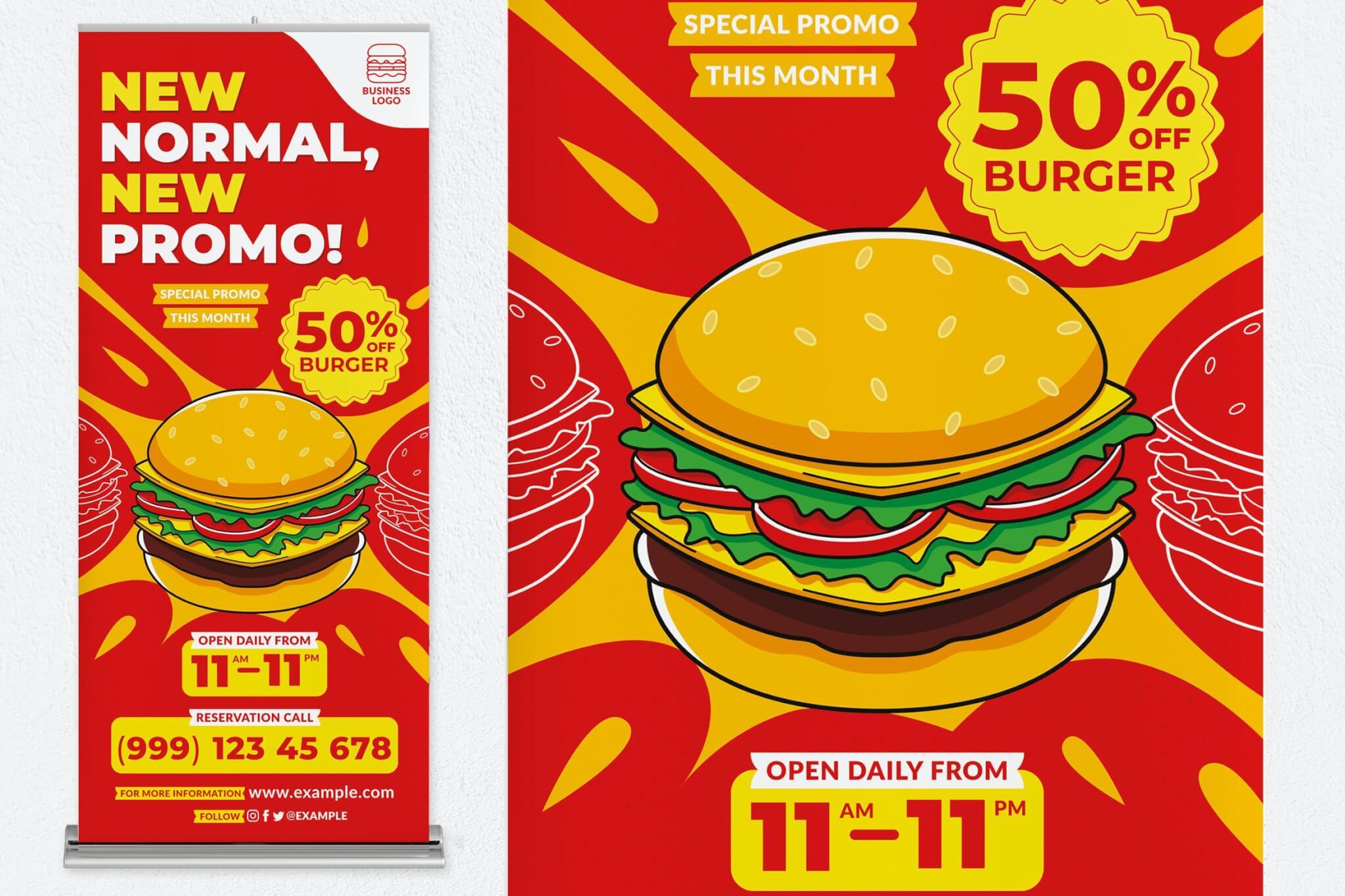 汉堡新促销海报易拉宝横幅设计