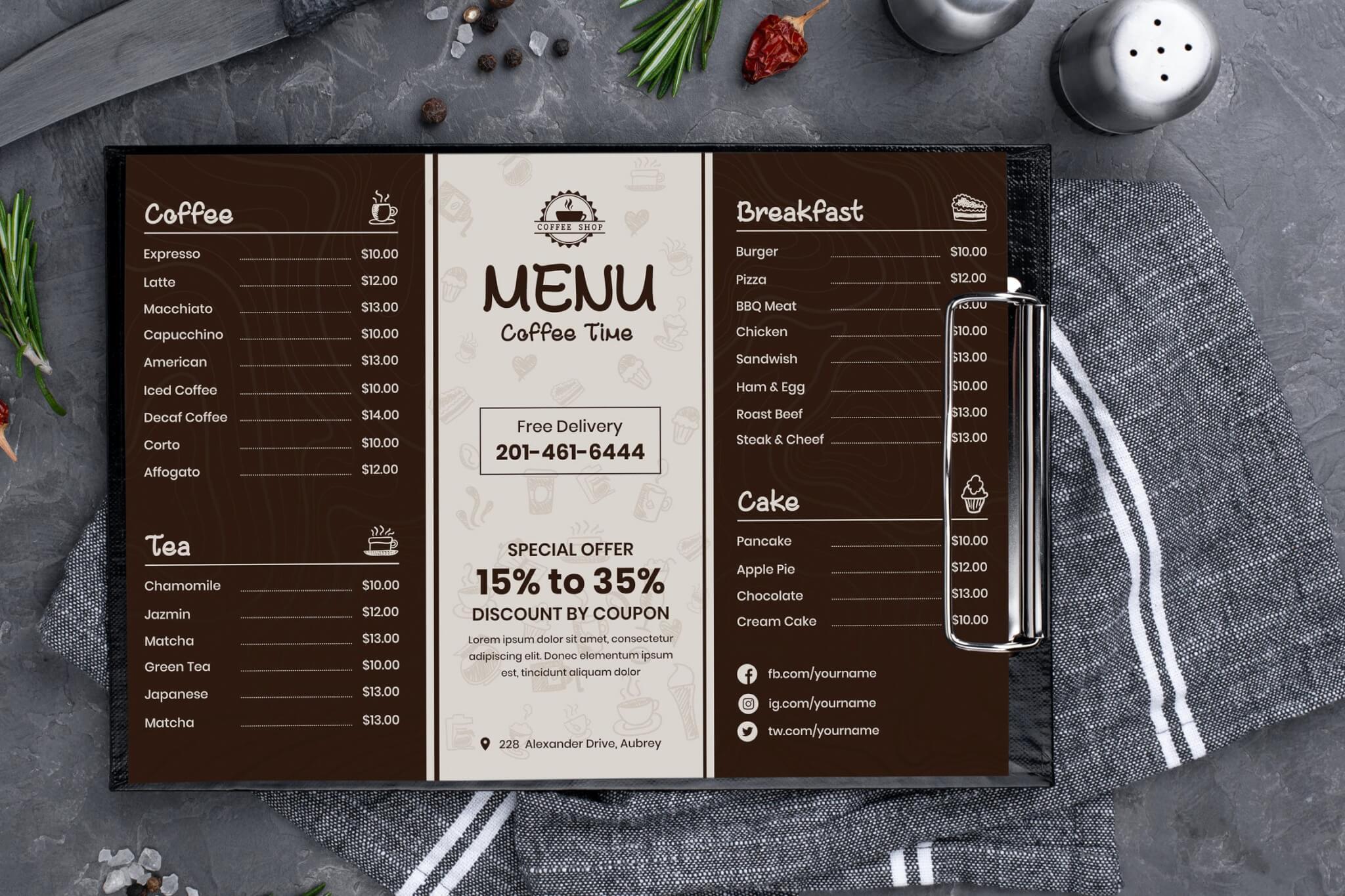 咖啡和茶菜单设计模板