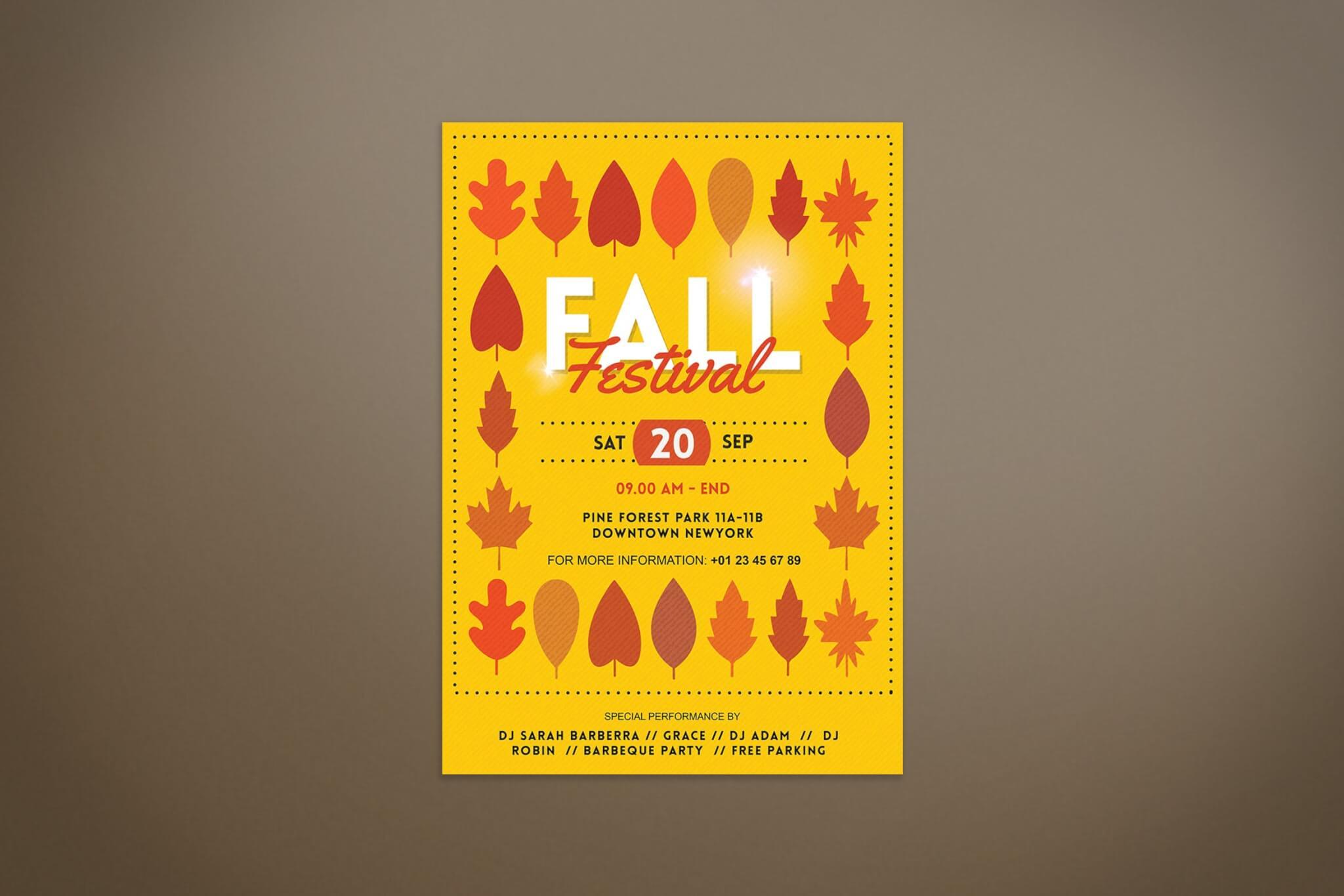 秋季节树木图案海报设计素材