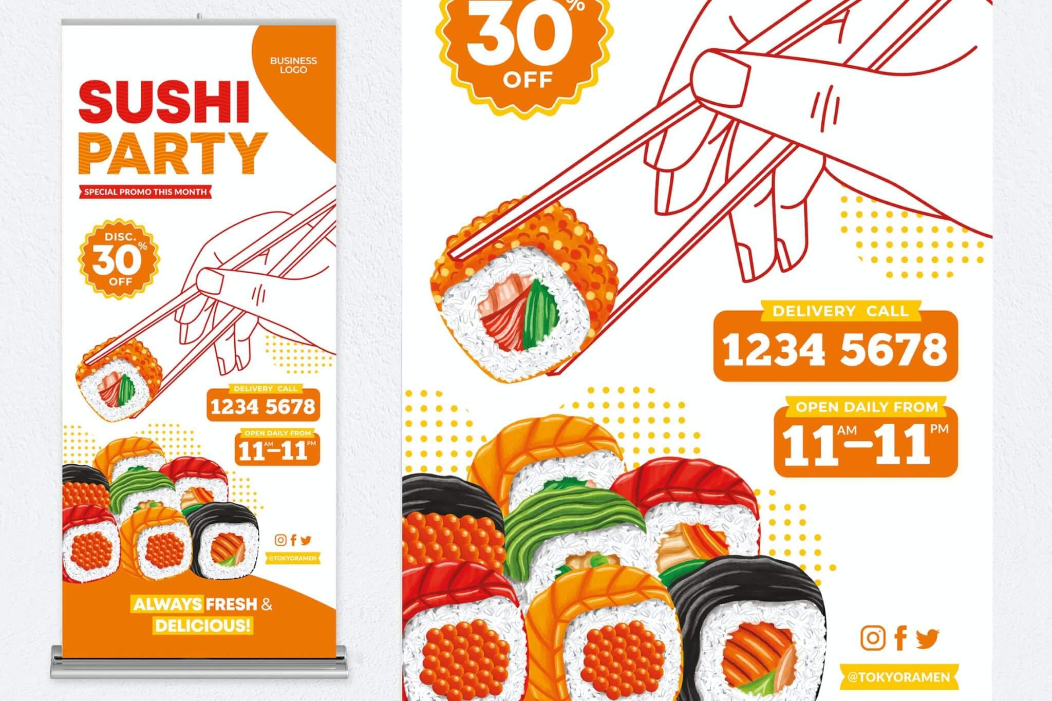 寿司派对易拉宝海报设计模板