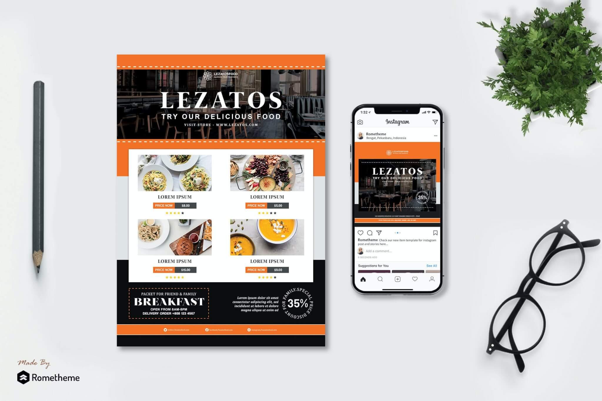 Lezatos-餐厅传单高档海报设计素材