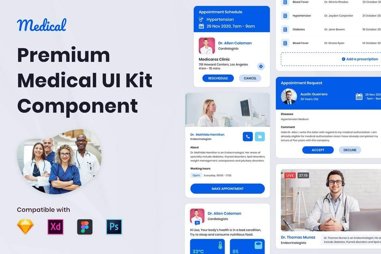 Nuzie-医疗用工具包ui设计模板