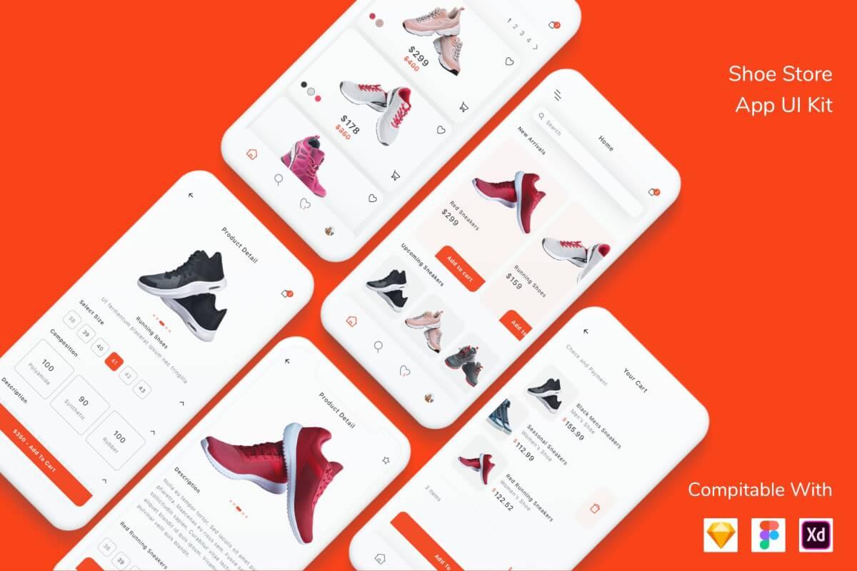 鞋店应用UI套件app设计模板