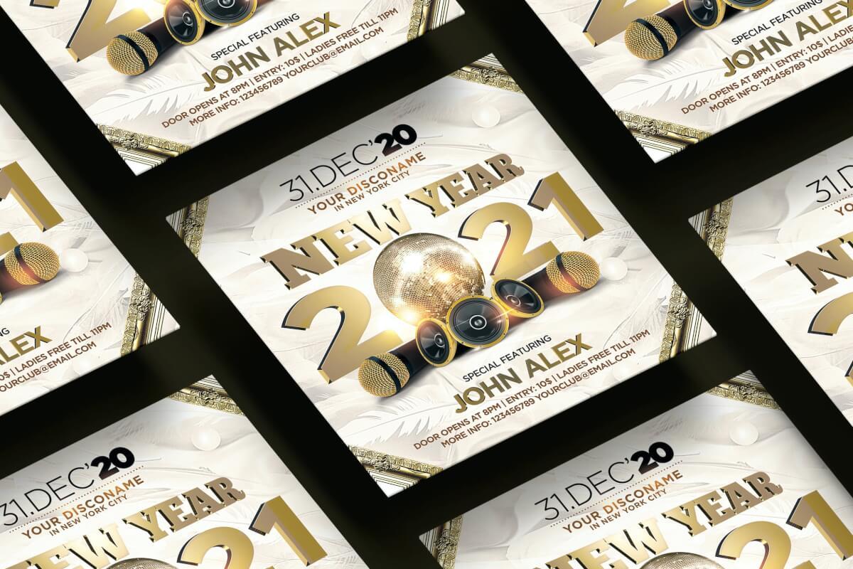 2021年新年方形传单