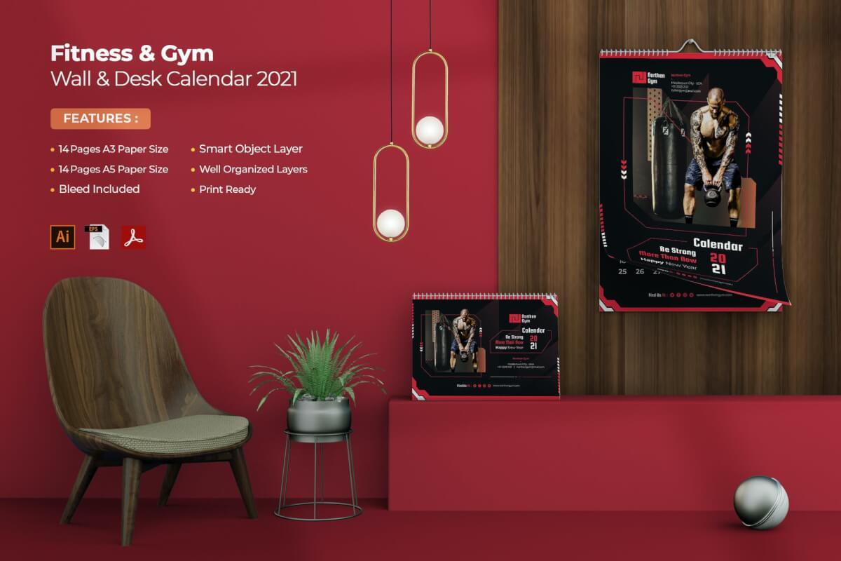 健身和健身房2021年墙上和书桌日历