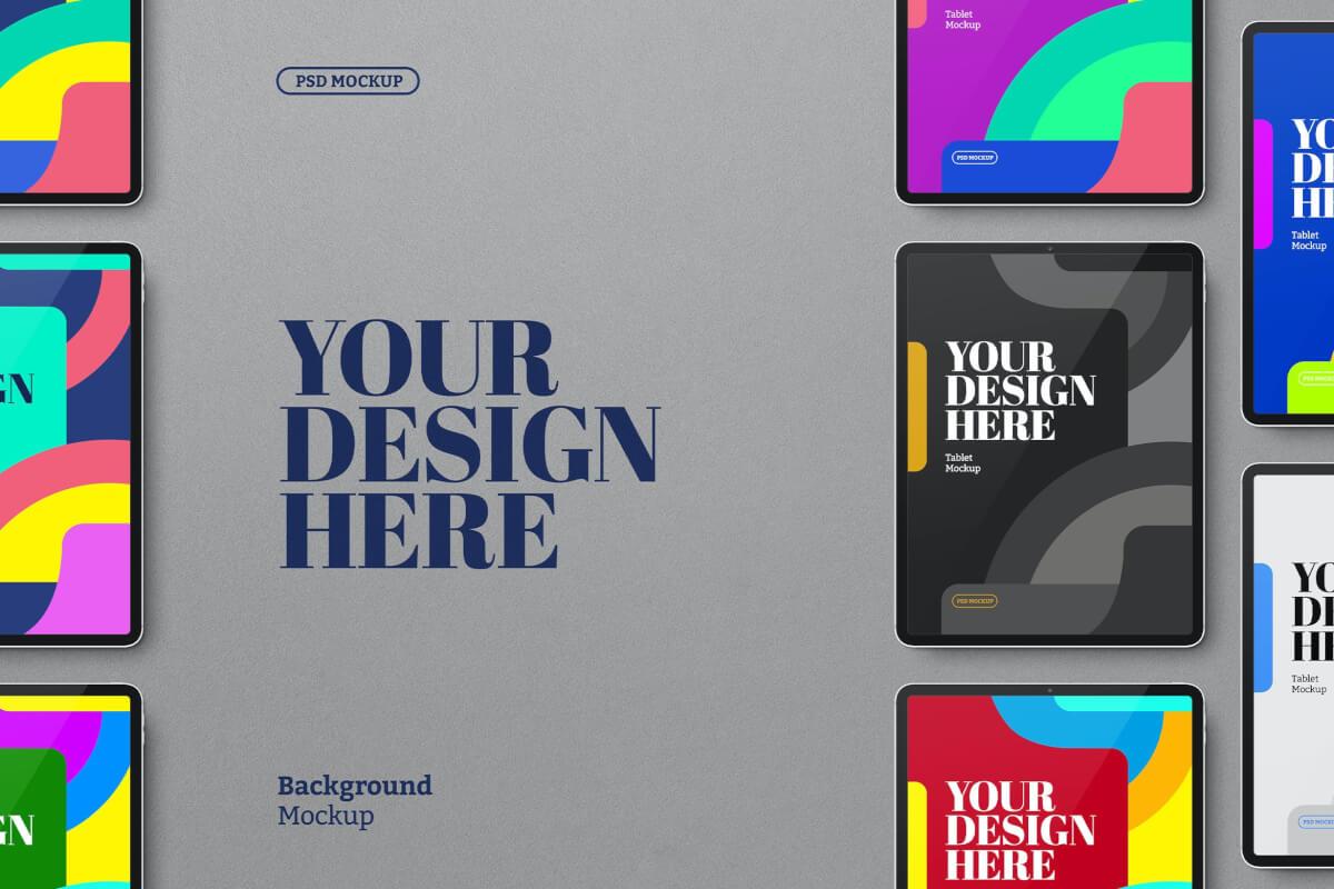 平板电脑黑色套装psd样机