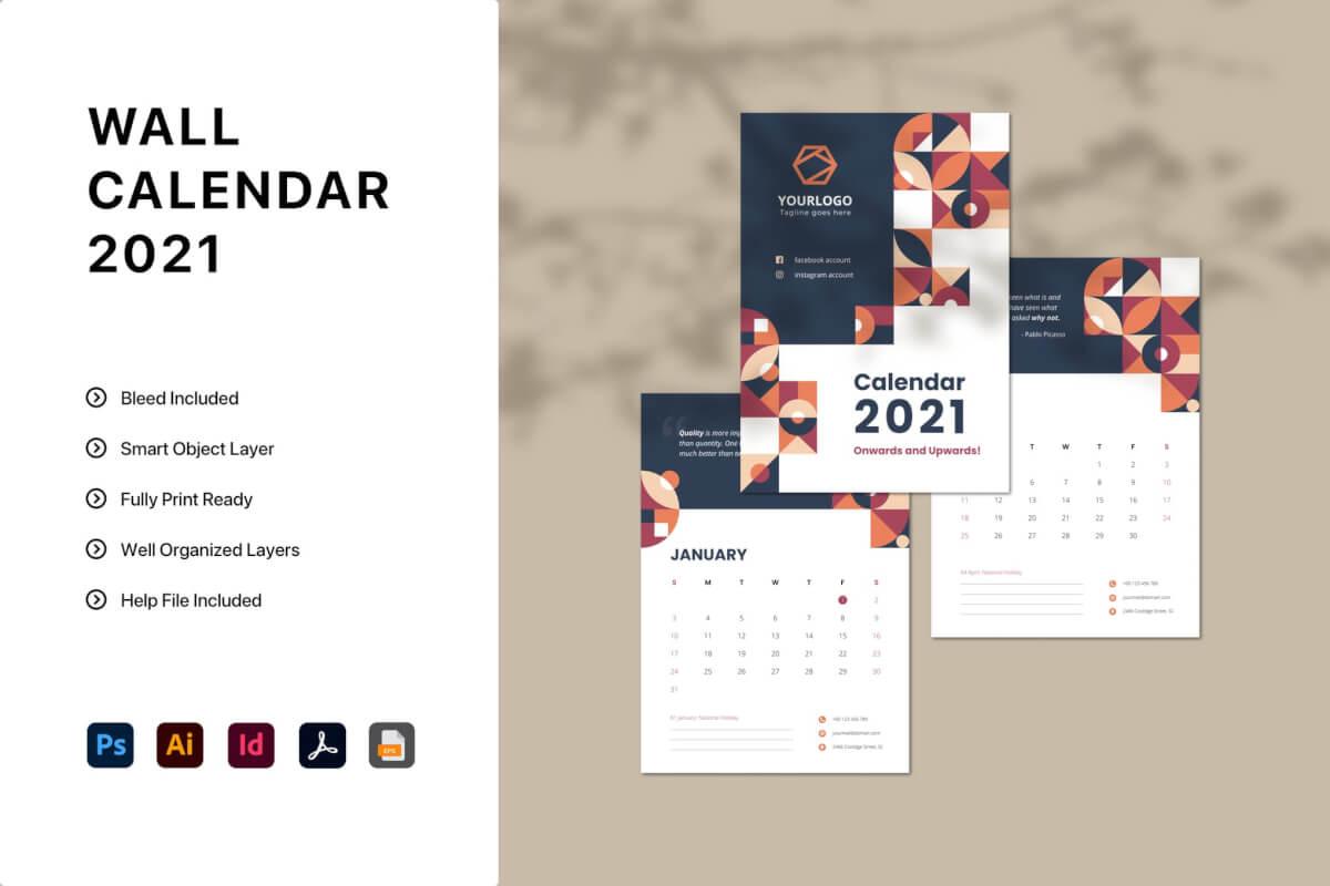 2021年日历模板下载