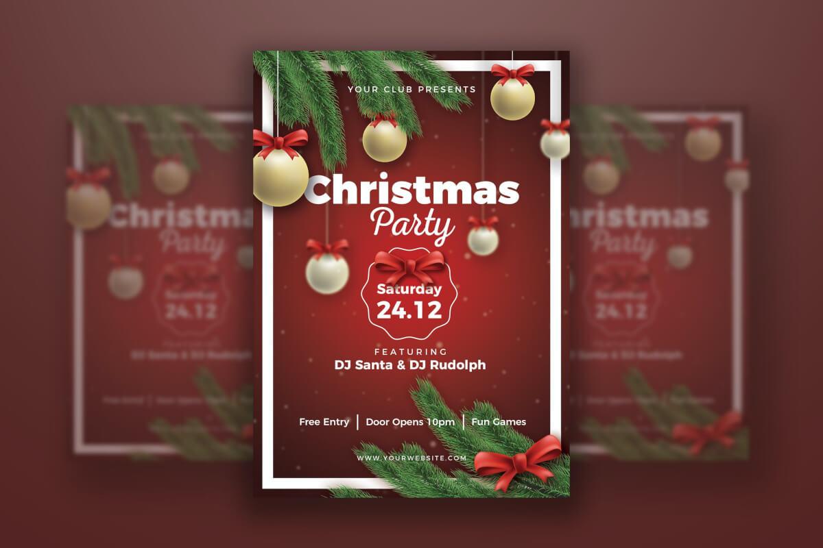 圣诞晚会海报模板圣诞球