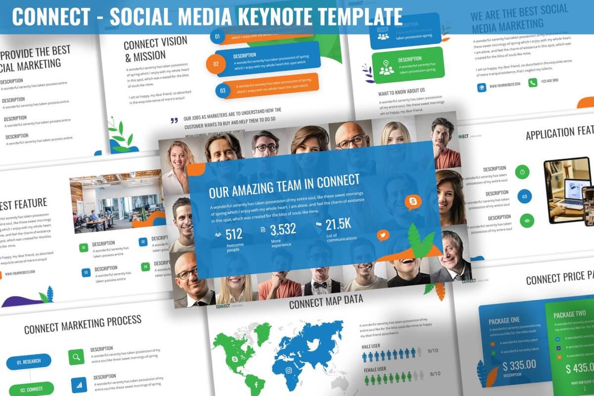 连接-社交媒体分享营销keynote模板下载