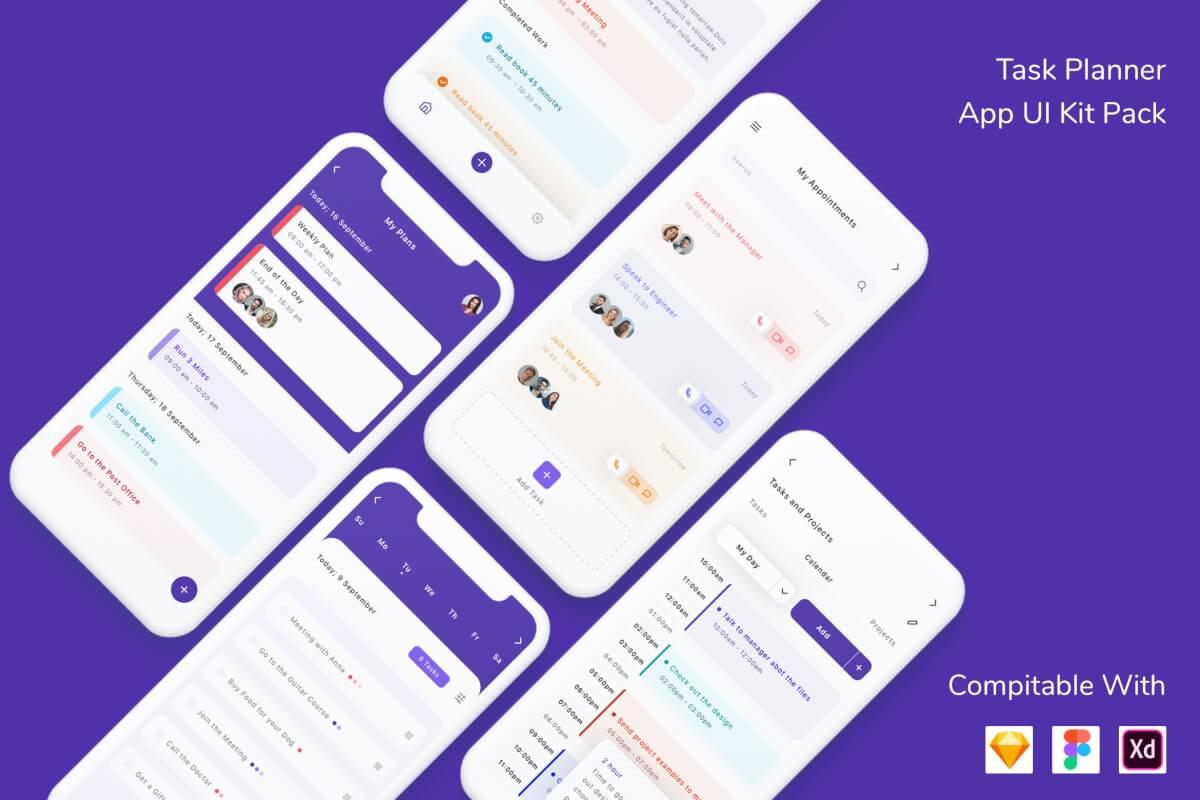 Task Planner App UI套件包设计模板