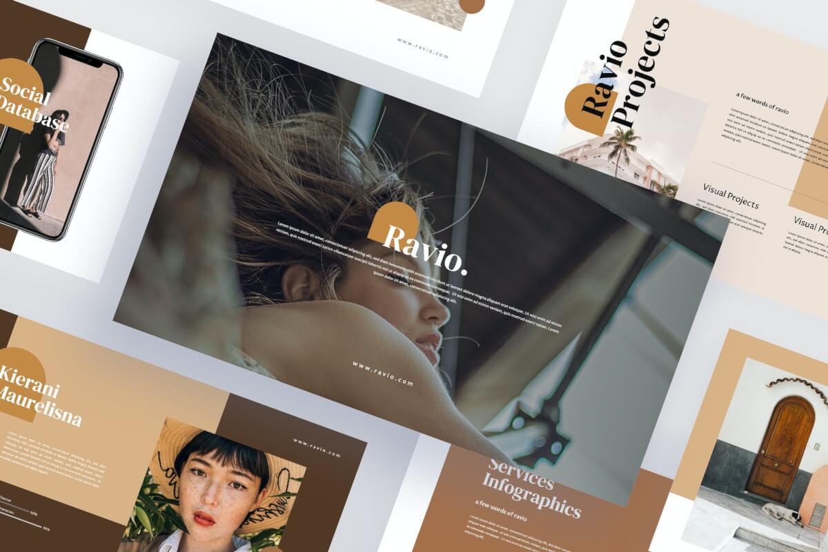 Ravio-创意图形设计唯美风格商务信息分析keynote模板