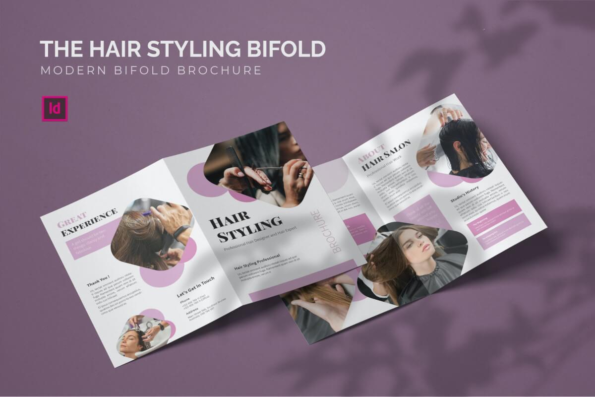 发型设计-双折页模板