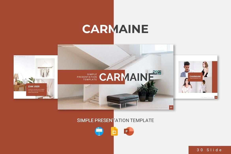 红色文艺风格室内设计家居设计PowerPoint模板