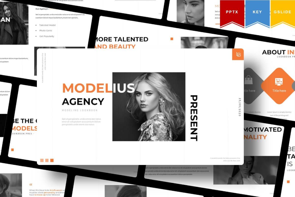 Modelius   时尚简约服装展示相册PPT模板