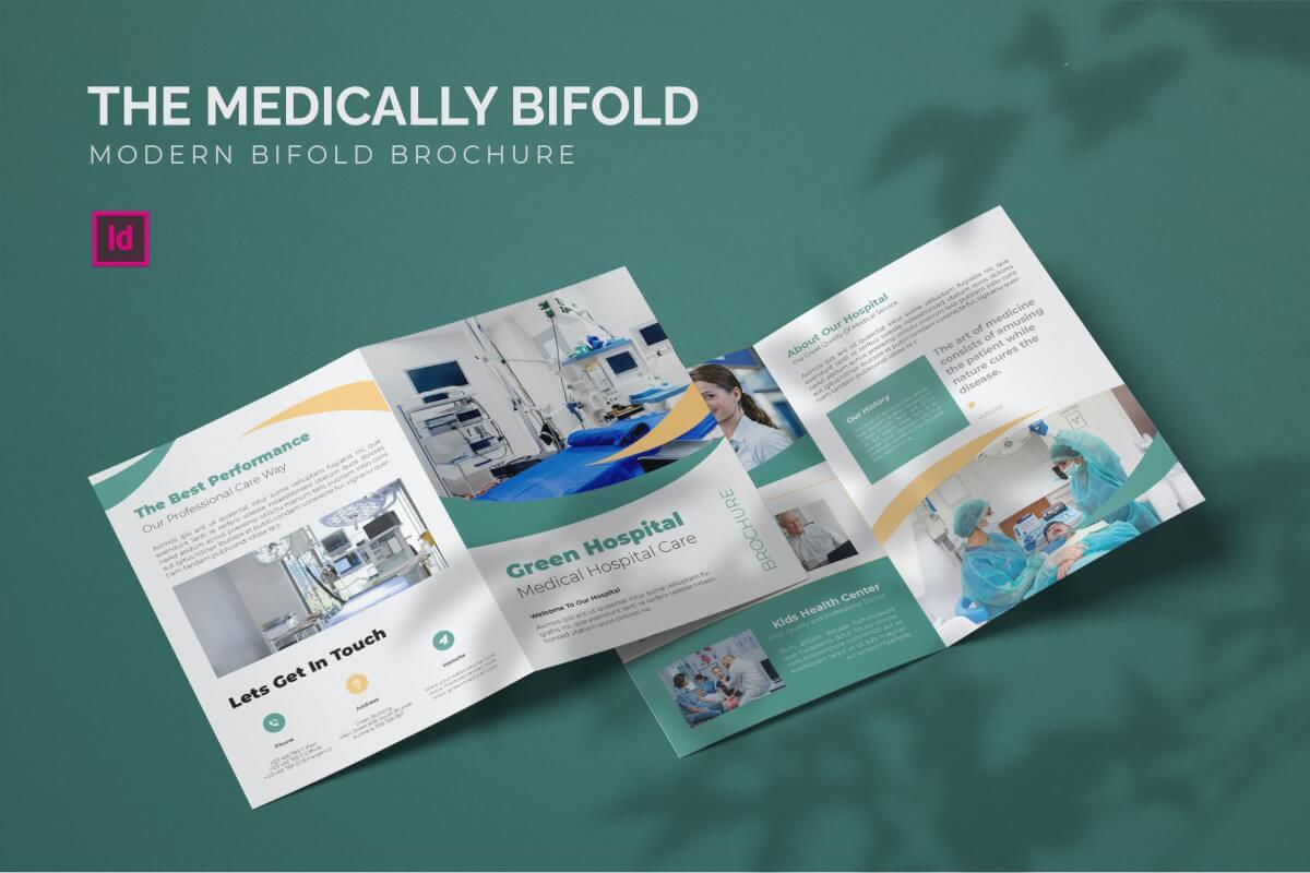 医院医疗器械宣传二双折设计模板