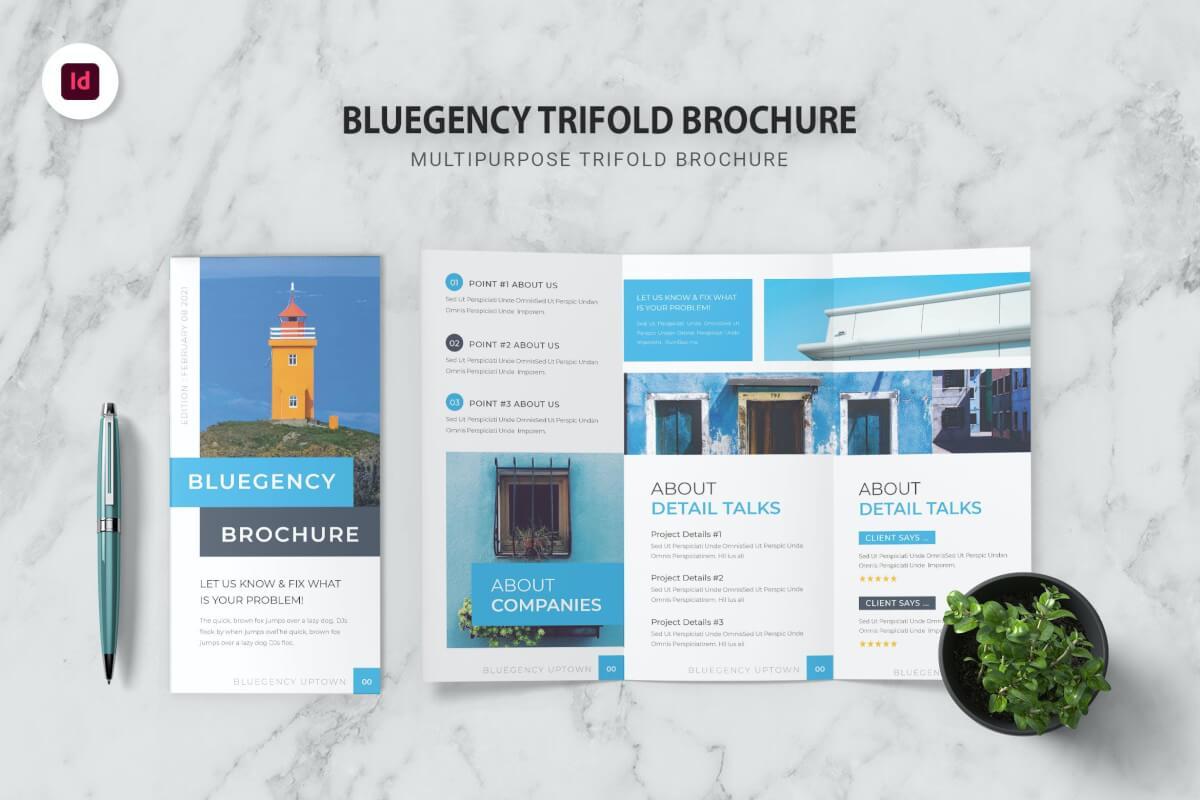 商务风格蓝色公司宣传三折页设计模板