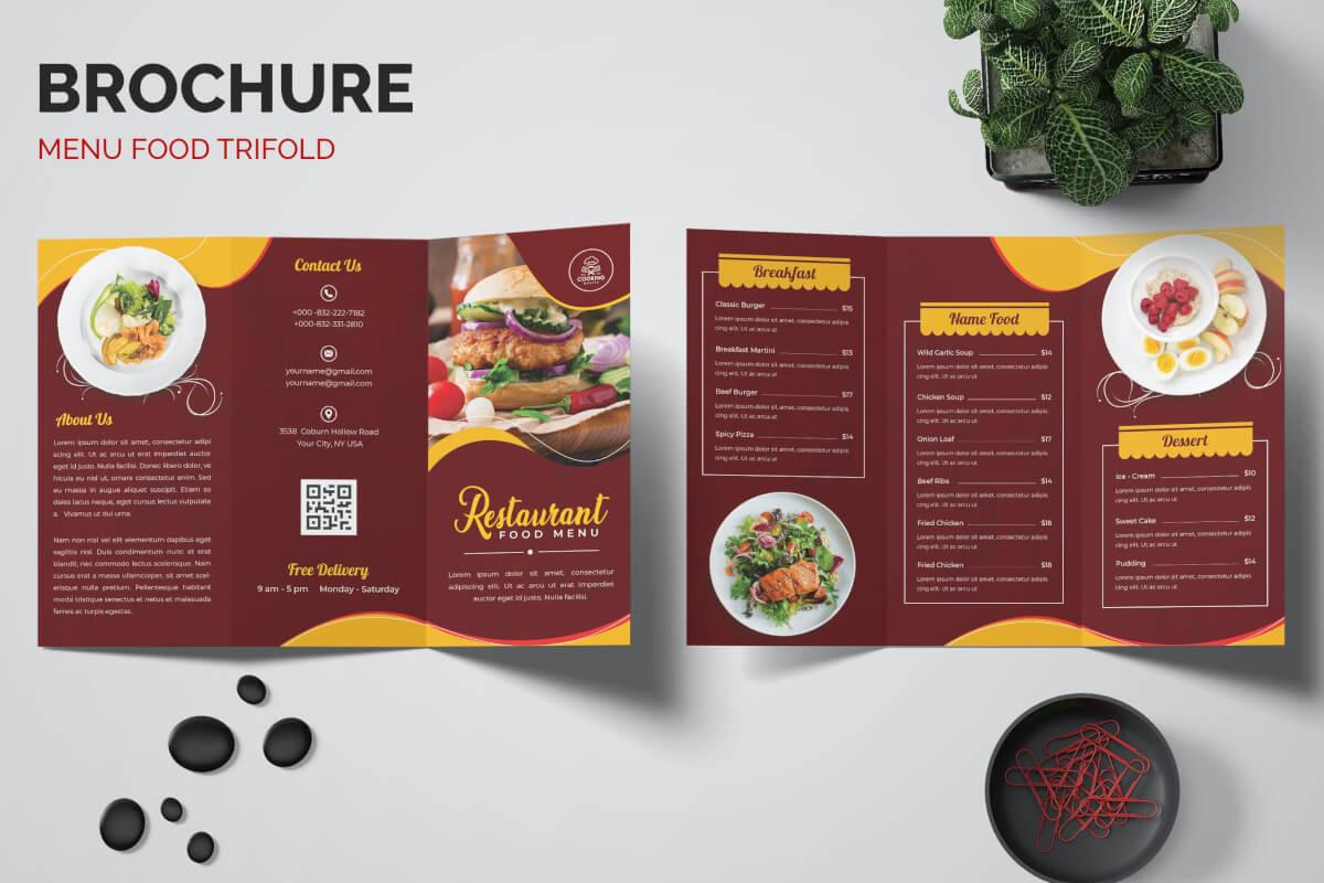 简约小吃红色菜单咖啡西餐厅菜单三折页设计模板