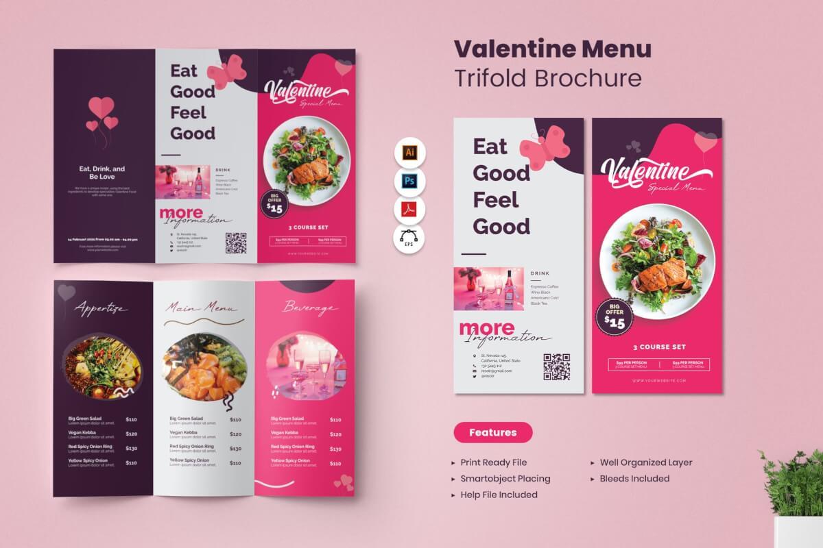 情人节菜单三折页设计模板