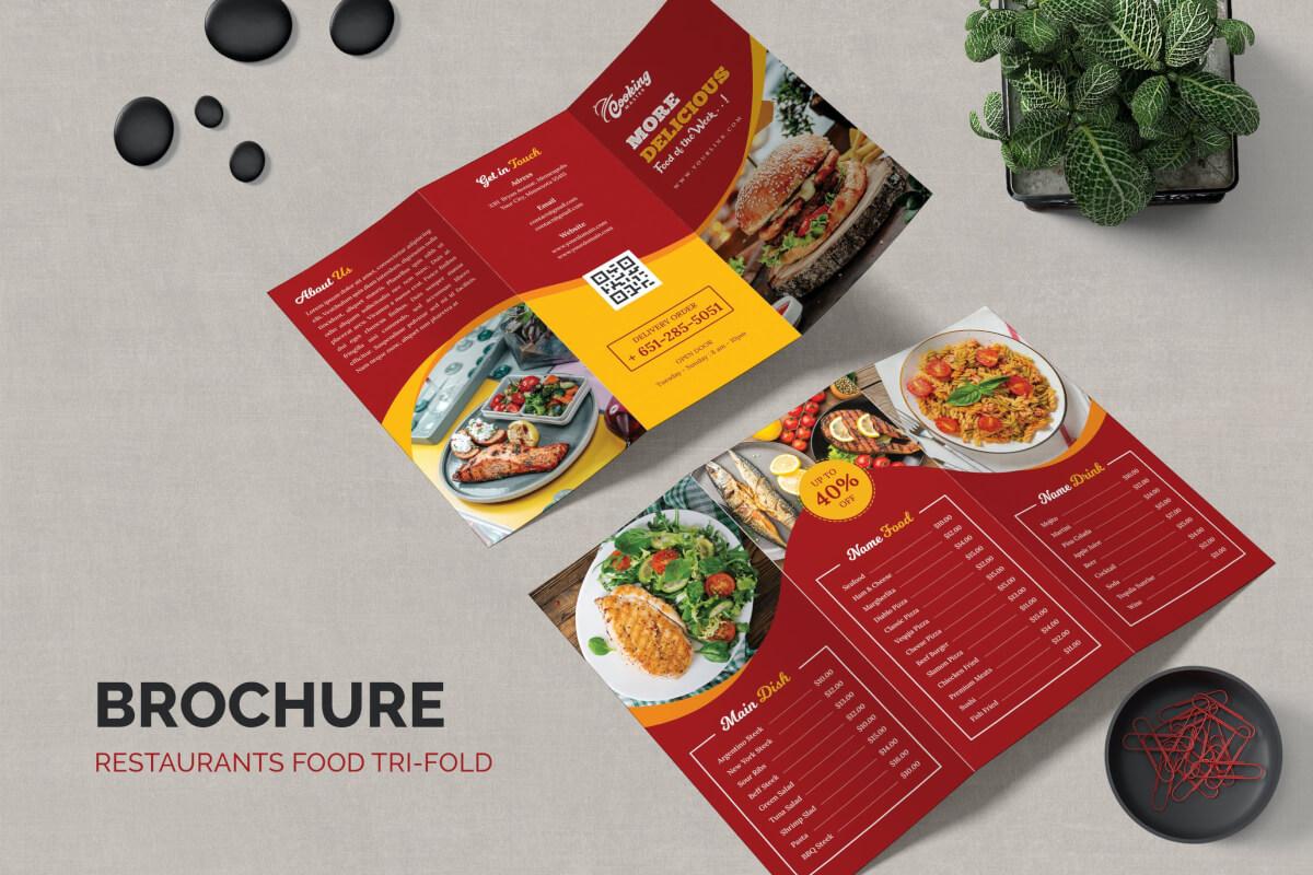 红色西餐厅美食菜单三折页设计模板