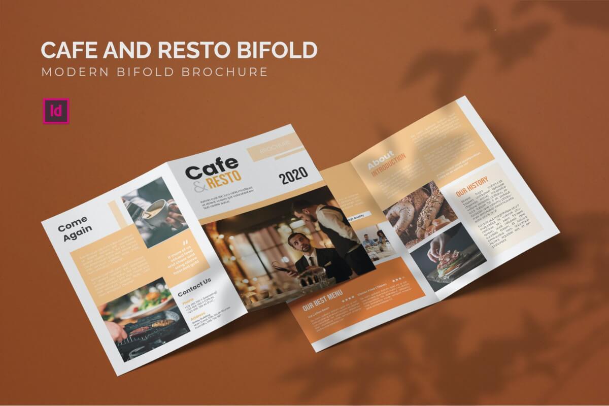 轻食餐厅美食宣传单二折页设计模板