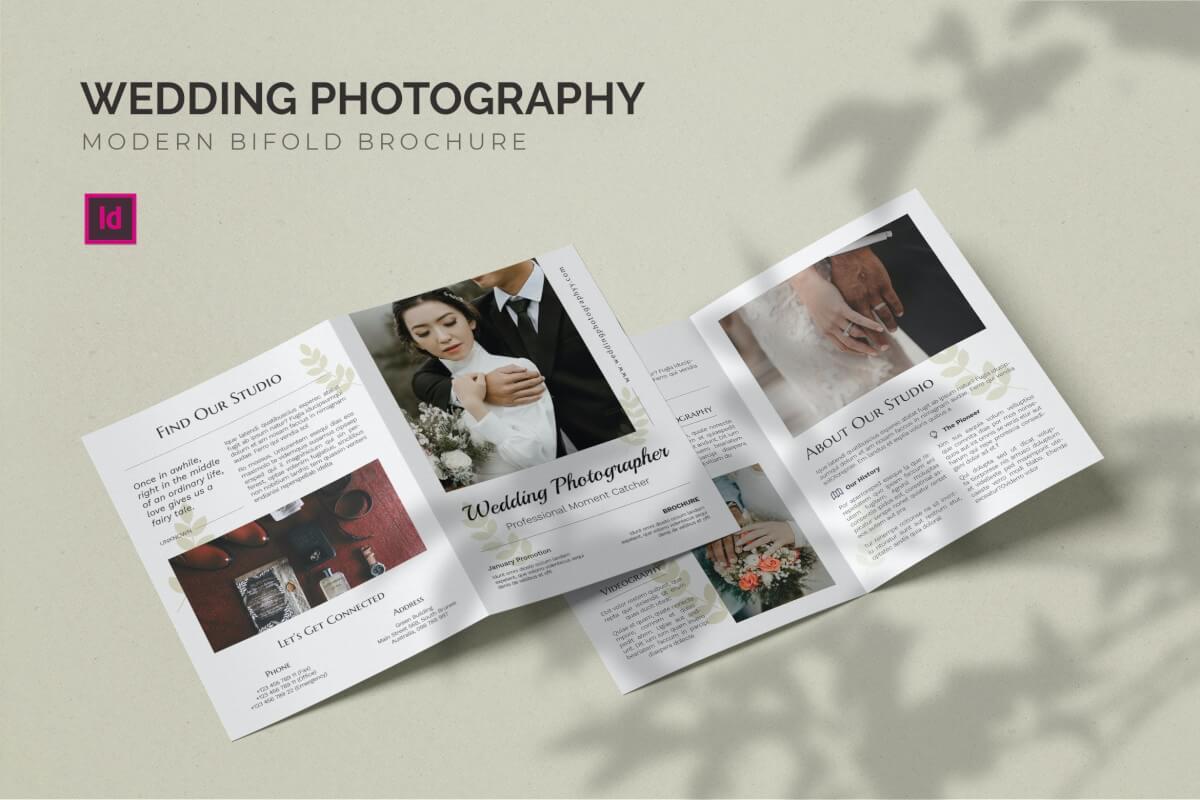 唯美大气婚纱摄影照片二折页设计模板