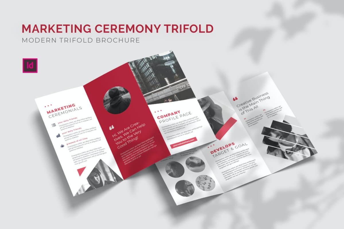 创意红色企业宣传三折页设计模板