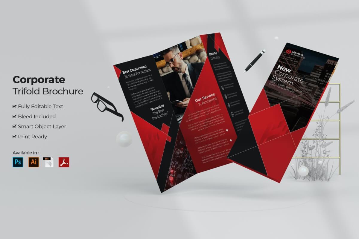 深色系科技公司高档三折页设计模板