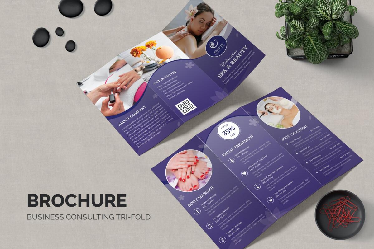 美容spa水疗紫色宣传单三折页设计模板