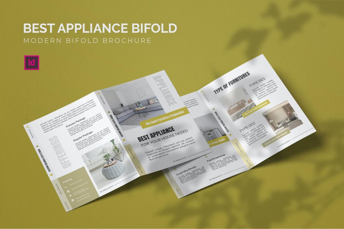 简洁时尚大气家具现代家居二折页设计模板