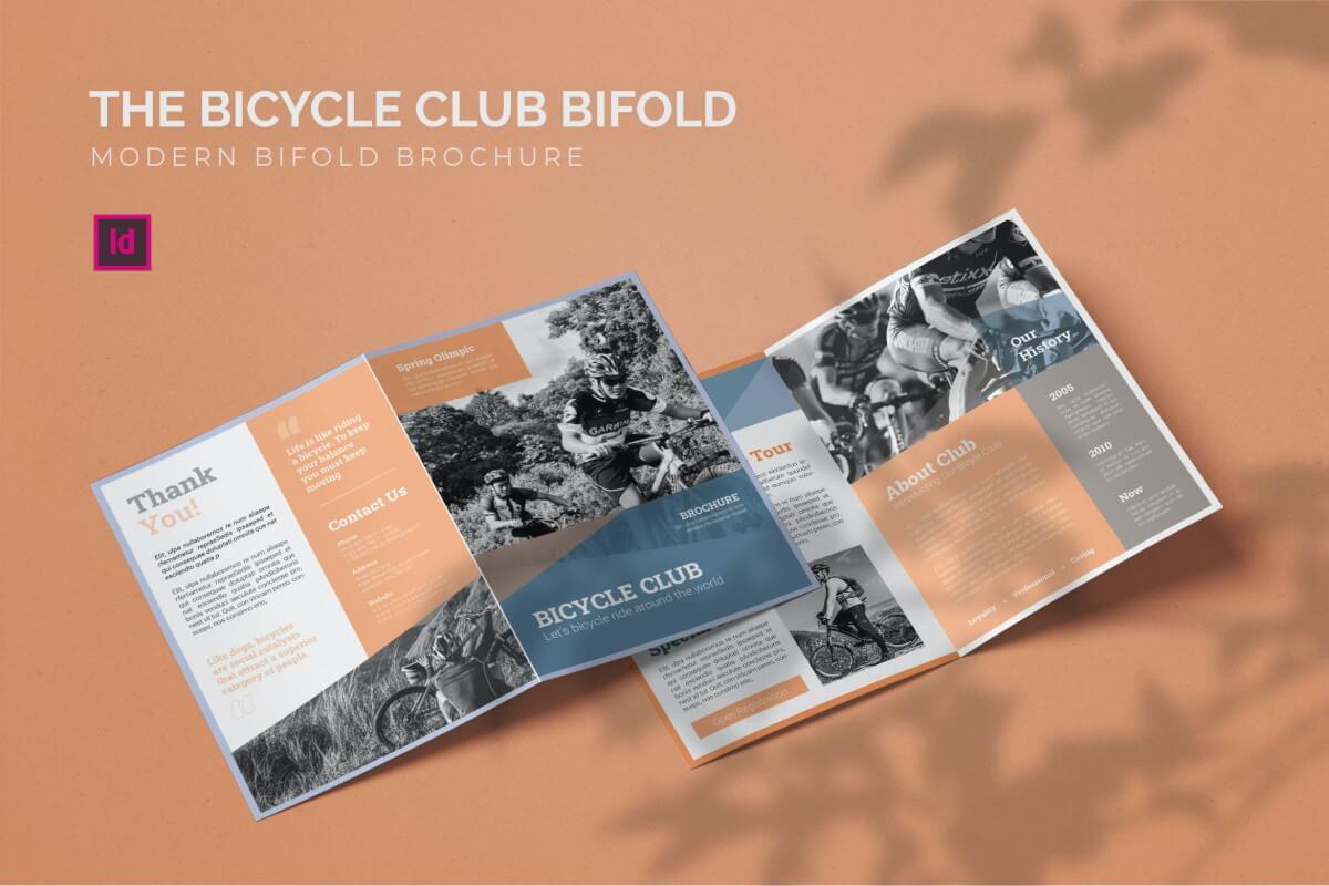 自行车俱乐部健身房二折页设计模板