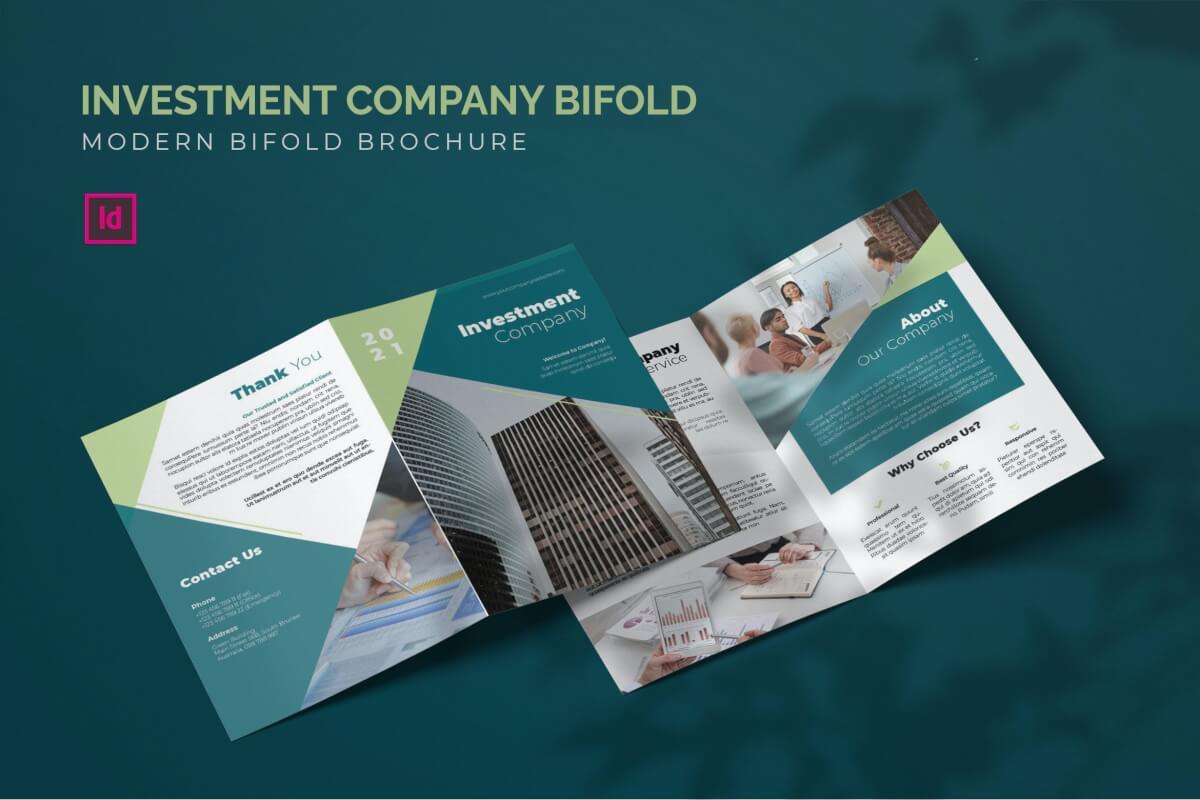 投资理财公司宣传单二折页设计模板