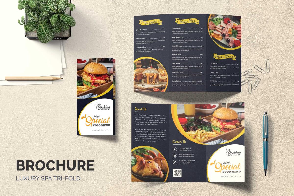 餐厅美食菜单烹饪三折页设计模板