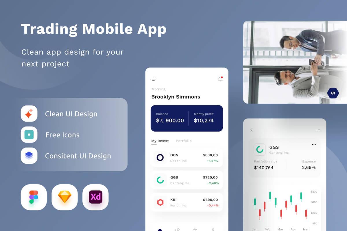 现代干净的数字加密货币交易后台管理App UI Kit设计模板