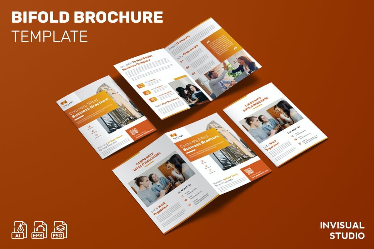 科技公司介绍宣传二折页设计模板