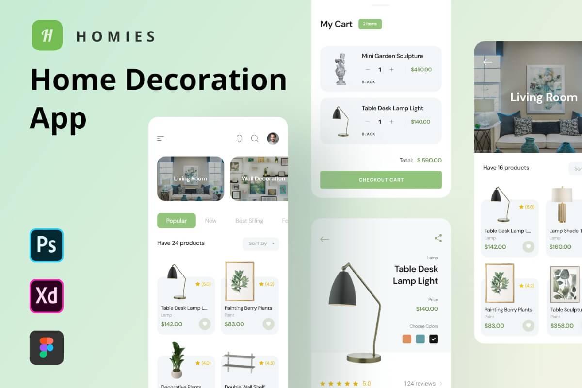家居装饰用品购买figma APP UI kit设计模板—Homies