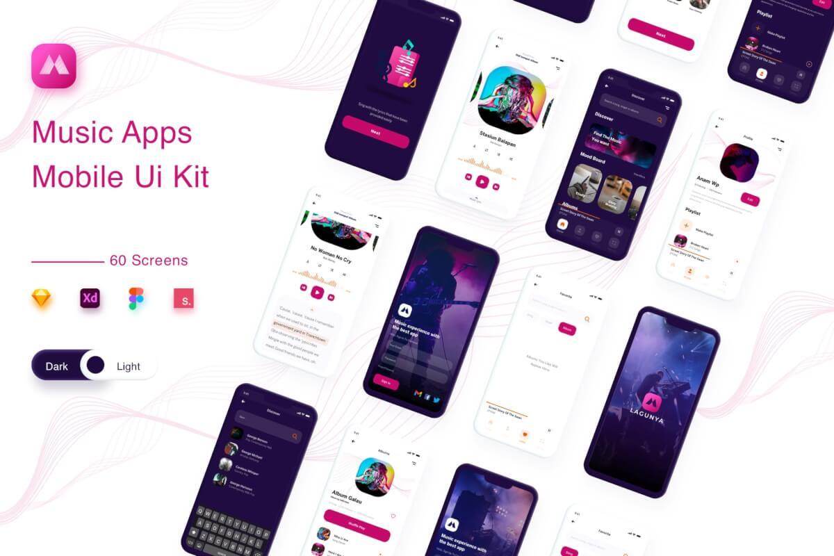 Lagunya-音乐流应用UI app设计模板