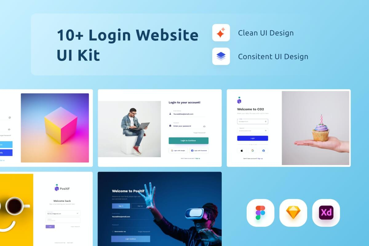 10个现代简洁的网站注册登录页UI设计模板